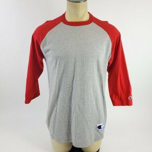 Champion Red & Gray Spellout Baseball Tee T-Shirt